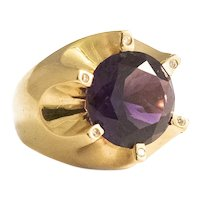 Custom Made 18K Modernist Amethyst & Diamond Ring