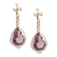 14K Yellow Gold Amethyst & Diamond Drop Earrings