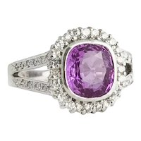 18Kt. White Gold Diamond and Pink Sapphire Ring