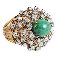 14Kt. Yellow Gold 'Cactus' Diamond & Emerald Dome Ring
