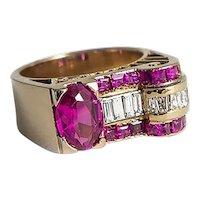 Rose Gold Retro Diamond & Synthetic Ruby Ring