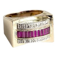 Vintage 18Kt. Yellow Gold & Silver Ruby & Diamond Ring