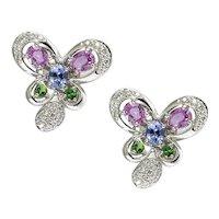 18K Diamond and Sapphire Butterfly Earrings