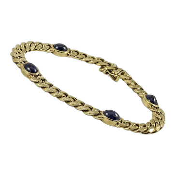 Tailored 14Kt. Yellow Gold and Sapphire Cabochon Link Bracelet