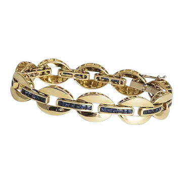 French 18kt Yellow Gold & Blue Sapphire Bracelet
