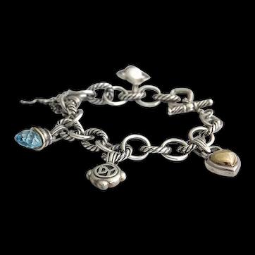 David Yurman Gold and Silver Charm Bracelet
