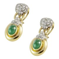 18K Yellow and White Gold Diamond Emerald Drop Earrings