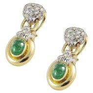 18K Yellow and White Gold Diamond Emerald Drop Earrings