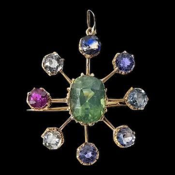 Antique Yellow Gold Sapphire, Ruby & Zircon Pendant/Brooch