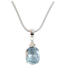 15 Carat Aquamarine and Diamond Pendant