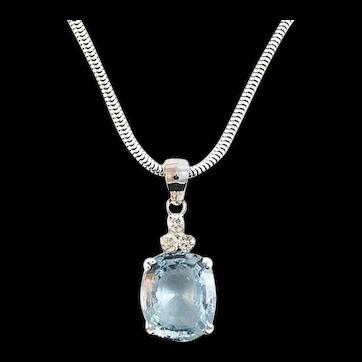 15 Carat Aquamarine and Diamond Pendant