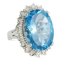 14Kt. White Gold Diamond Topaz Ring