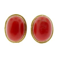 18Kt. Yellow Gold Coral Earrings