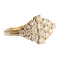 18kt Yellow Gold Diamond Pave Ring.