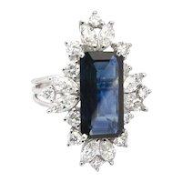 Custom made Sapphire Diamond and Platinum Ring.