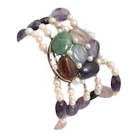 14kt White Gold Pearl and Multi Colored Gem Bracelet.