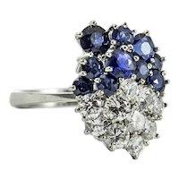 Modernist Custom Made Platinum Diamond and Sapphire Ring