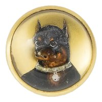 Tiffany and Co. Reverse Painted Essex Crystal Doberman Pinscher Brooch