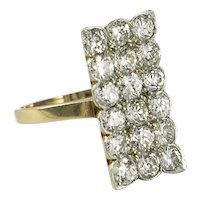 Antique Edwardian Diamond and 18 kt, White and Yellow Gold Plaque Ring