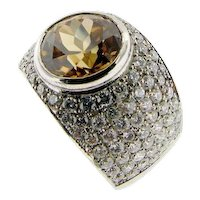 Modernist Natural Zircon and Diamond Ring