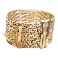 Vintage Italian 97.8 gm. 18K Yellow Gold Strap Bracelet