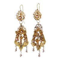 Ornate Antique Day & Night Earrings