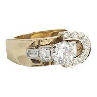 Vintage Custom Made Retro 2.49 ct.  Diamond  Ring
