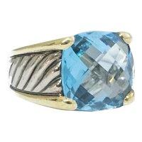 David Yurman 18 kt. Gold and Silver Blue Topaz Ring