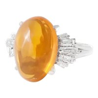 Large Vintage Platinum Diamond and Fire Opal Ring.