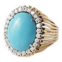 Turquoise Diamond 14kt Yellow Gold Ring Size 10.5