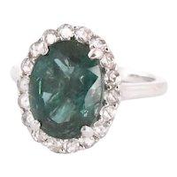 Rose Cut Diamond Emerald and Platinum Ring.