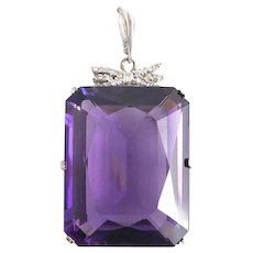 Spectacular 118 ct. Amethyst & 14kt. White Diamond Gold Pendant.