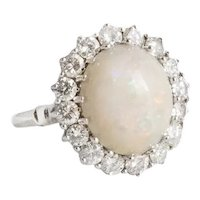 Vintage Custom Made 14kt. White Gold Opal and Diamond Ring