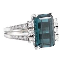 High Quality 18kt. White Gold Tourmaline and Diamond Ring