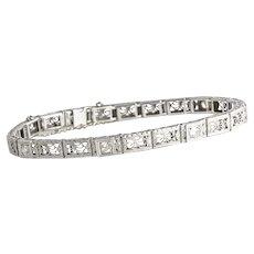 Art Deco White Gold & Diamond Filigree Mill Grain Bracelet
