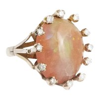 Hand Made Avant Garde 14kt. Yellow Gold Opal and Diamond Ring.