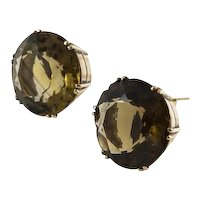 Vintage Smokey Quartz Yellow Gold Earrings
