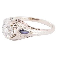 Birks Art Deco 18kt White Gold Diamond and Sapphire Ring.