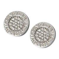 Bvlgari Bvlgari 18K White Gold and Diamond Earrings