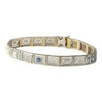 Art Deco Filigree Diamond and Faux Sapphire Bracelet.