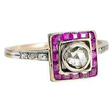 Art Deco Silver Ruby & Rose Cut Diamond Ring