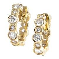 18kt Diamond Hoop Earrings.