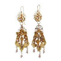 Ornate Gold Antique Day & Night Earrings