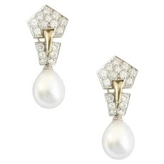 South Sea Pearl and Diamond Ear Pendants.