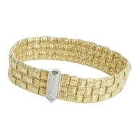 Roberto Coin 3 Row Appassionata  18kt Yellow gold Bracelet with Diamond Clasp.
