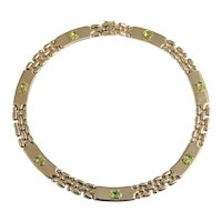 Itallian 14kt. Yellow Gold Peridot and Gold Necklace