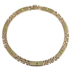 Itallian Peridot and Gold Necklace