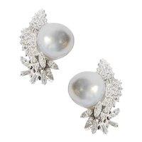 South Sea Pearl Diamond and Platinum Ear Clips.