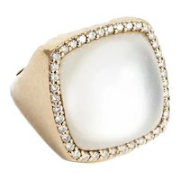 Roberto Coin  18kt. Rose Gold, Mother of Pearl, Rock Crystal and Diamond Ring.