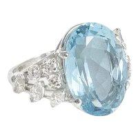 Aquamarine, Diamond and Platinum Ring.